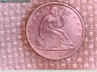 1857 SEATED LIBERTY NO MOTTO TYPE HALF DOLLAR WITH SOME MINT LUSTER