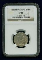 SWITZERLAND  1860 B  1 FRANC SILVER COIN LIGHTLY CIRCULATED NGC CERTIFIED VF35