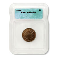 UNITED STATES TWO CENT PIECE 1865  ICG MINT STATE 64 BN GREAT TYPE COIN