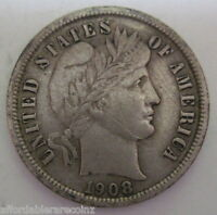 1908 SILVER BARBER LIBERTY DIME COIN IN XF 818H