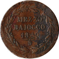 1849 ITALY   PAPAL STATES VATICAN 1/2 MEZZO BAIOCCO COIN KM1340