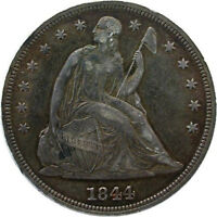 1844 LIBERTY SEATED DOLLAR DOUBLE DIE OBVERSE MISPLACED DATE ORIGINAL GRAY VF