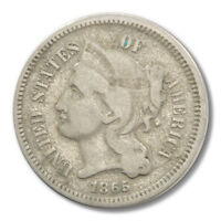 1865 3 NICKEL LONGACRE PIECE FROM THE UNITED STATES GRADED AS FINE