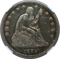 1859 O SEATED QUARTER   CHALLENGING DATE LOVELY GOLDEN PATINA   NGC EF45 CAC
