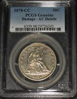 VERY  1878 CC SEATED LIBERTY SILVER HALF DOLLAR PCGS AU DETAILS 62000 MINTED