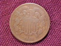 1869 COPPER 2 CENTS VG-F