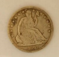 1867 SEATED LIBERTY  SILVER HALF DOLLAR   01143
