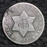 1851 O THREE CENT SILVER PIECE CHOICE VG  E173 CF
