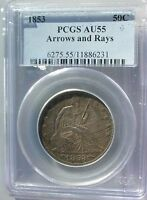 1853 LIBERTY SEATED SILVER HALF DOLLAR ARROWS AND RAYS PCGS AU55
