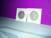 1960 D BEN FRANKLIN SILVER HAIF DOLLARS TWO IN LOT CIRCULATED CHECK THEM OUT