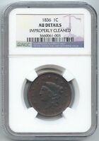 1836 CORONET HEAD LARGE CENT NGC AU DETAILS
