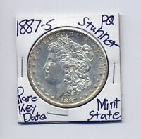 1887-S MORGAN DOLLAR  KEY DATE US MINT SILVER COIN UNC MS PQ STUNNER