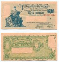 ARGENTINA NOTE 1 PESO 1944 GAGNEUX BOSCH B 1826 SERIAL J P 251C F/VF