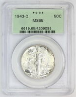 1943 D WALKING LIBERTY HALF DOLLAR MINT STATE 65 PCGS OLD GREEN HOLDER OGH 9098