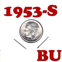 1953 S   ROOSEVELT SILVER DIME       BU CONDITION