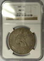 1845 SEATED LIBERTY SILVER DOLLAR NGC AU 55.