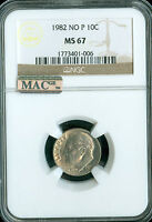 1982 NO P ROOSEVELT DIME NGC MAC MS 67 PQ FINEST MAC SPOTLESS