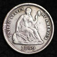 1869 S SEATED LIBERTY HALF DIME CHOICE XF  230,000  E179 NM
