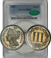 1885 NICKEL THREE CENT PIECE 3CN PROOF PR 67 PCGS CAC APPROVED