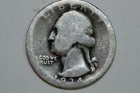: ONE 1934 D HEAVE MOTTO WASHINGTON QUARTER ABOUT GOOD WQX937