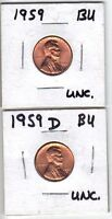 1959 &1959D BU LINCOLN'S 1ST MEMORIAL CENT 1959 UNCIRCULATED 57 YEARS NEW