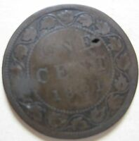 1891 SD LL CANADA LARGE CENT COIN. KEY DATE C133