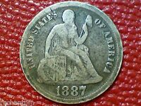 VINTAGE U.S. 1887 SEATED LIBERTY SILVER DIME OLD COIN  XX64