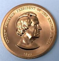 MEDALS AND TOKENS SALE U.S. MINT PRESIDENT ANDREW JOHNSON 1865 33MM 502
