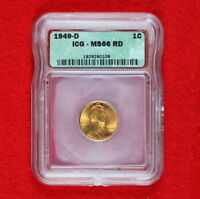 BEAUTIFUL 1949 D UNCIRCULATED LINCOLN WHEAT CENT GRADED MS 66 RD  BY ICG