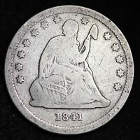 1841 SEATED LIBERTY QUARTER CHOICE FINE  E273 EE
