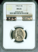 1952 S JEFFERSON NICKEL NGC MAC MS65 4 FS PQ