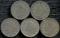 1907 1909 1910 1911 & 1912 UNITED STATES LIBERTY NICKEL COINS