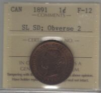 1891 SL SD OBV 2  CANADA LARGE CENT COIN. ICCS F 12