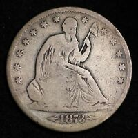 1873 S SEATED LIBERTY HALF DOLLAR CHOICE VG  E355 MM