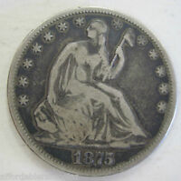 1875 SILVER SEATED HALF DOLLAR COIN105M