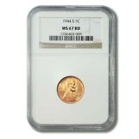 UNITED STATES LINCOLN WHEAT CENT PENNY 1 1944S NGC MS 67 RED