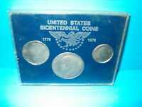 UNITED STATES  BICENTENNIAL SET 1776 1976 IN PLASTIC CASE 3 COINS IN LOT
