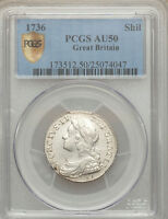 ENGLAND GEORGE II 1736/5 1 SHILLING COIN ALMOST UNCIRCULATED CERTIFIED PCGS AU50