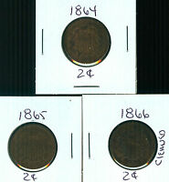 1864 - 1865 - 1866 - 2 CENTS - 3 COINS