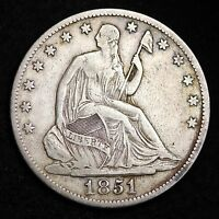 1851 O SEATED LIBERTY HALF DOLLAR CHOICE XF  E308 NHT