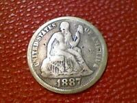 HARD TO FIND EARLY U.S. COIN1887 SEATED LIBERTY SILVER DIME BP51
