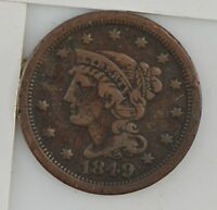 1849 BRAIDED HAIR LARGE CENT Z64