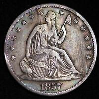 1857 S SEATED LIBERTY HALF DOLLAR CHOICE VF  E314 NHT