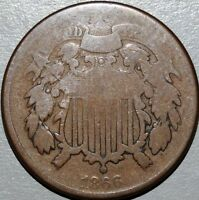 1866 TWO CENT PIECE  CIRCULATED COIN