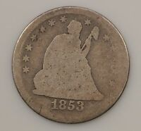 1853 LIBERTY SEATED QUARTER DOLLAR VARIETY 2 ARROWS & RAYS G22