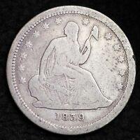1839 SEATED LIBERTY QUARTER CHOICE FINE  E317 HN