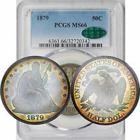1879 LIBERTY SEATED HALF DOLLAR 50C MS 66 PCGS CAC APPROVED   RAINBOW COLOR TONE