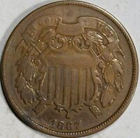 1867  US TWO CENTS  FINE