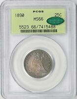 1890 LIBERTY SEATED QUARTER 25C MS 66 PCGS CAC OLD GREEN HOLDER   RAINBOW COLOR
