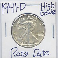 1941 D WALKING LIBERTY HALF DOLLAR  DATE US MINT SILVER COIN HIGH GRADE